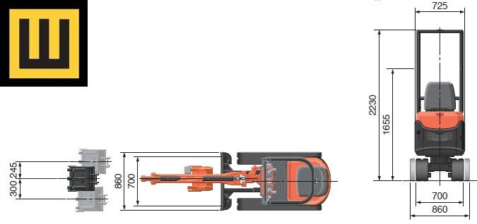Minikoparka KUBOTA K008 rysunek techniczny