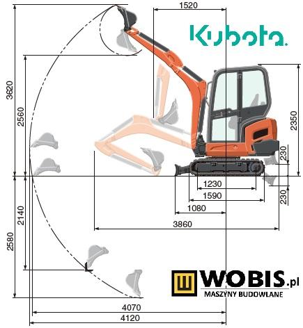 Minikoparka KUBOTA KX019-4 rysunek teczhniczny dane